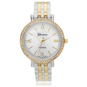Brinley Co. Women's Rhinestone Bezel Hinged Cuff Fashion Watch, Two Tone