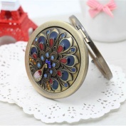 BLUENIVEYY Folding Pocket Mirror Round Compact Mirror Double-sided Makeup Mirror For Wedding Birthday Anniversary Gift and Travel,E