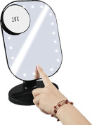 LacGo 20 LEDs Makeup Mirror ,Touch Screen Cosmetic Mirror,Detachable 10X Magnification Spot Mirror