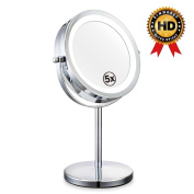 Double Sided Lighted Mirror - 18cm LED Makeup Mirror With Lights,1x/5x Magnifying Vanity Mirror With Stand,Round Cosmetic Mirror for Bathroom or Bedroom Countertop,Desk Mirror With 360° Rotation