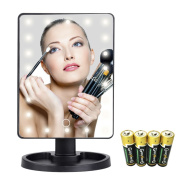 JUHANG LED Makeup Mirror, Touch Screen 22 LED Lighted Square Desktop Cosmetic Mirror, 180° free rotation Travel Beauty Mirror Black Cosmetic Mirror, Include AA Batteries
