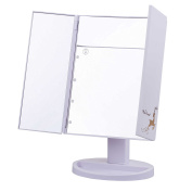 Miss Sweet Led Makeup Mirror Trifold Tabletop Mirror with 5X Magnification & True Image