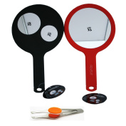 3 View in One 1x/2x/3x Magnifying Mirror. Red or Black with Stainless Steel Tweezer