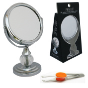 3x Magnify Pedestal Vanity Mirror with Stainless Steel Tweezers