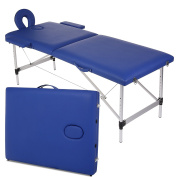 Garain Portable Massage Table Aluminium Frame PU Leather 2 Section Folding Salon Beauty Facial SPA Tattoo Bed Lightweight with Free Carry Case, Blue