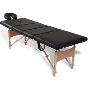 SKB Family Black Foldable Massage Table 4 Zones with Wooden Frame Portable Salon Beauty Spa Facial Bed