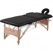 SKB Family Black Foldable Massage Table 2 Zones with Wooden Frame Portable Facial Beauty Bed