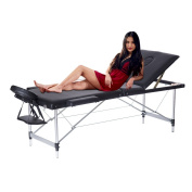 3 Fold Aluminium Massage Table Bed Adjustable SPA Therapy Beauty Salon Massage Table with Armrest
