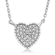 Diamond Rhodium Plated 925 Sterling Silver Heart Necklace 46cm Chain 5.1cm Extenders