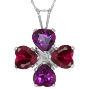 3.40 Ct Heart Shape Purple Amethyst Red Created Ruby 925 Sterling Silver Pendant