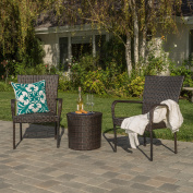 Marsala Outdoor Brown Wicker 3 Piece Stacking Arm Chair Chat Set