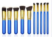 KiraShan - New Kabuki Makeup Brush Set 10pcs - Premium Synthetic Brushes for Cosmetic Foundation Blush Blending Face Powder