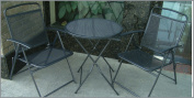 Bistro set Patio Set 3pc Table & Chairs Outdoor Furniture Wrought Iron CAFE set-Black