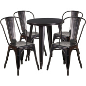 Flash Furniture 60cm Round Black-Antique Gold Metal Indoor-Outdoor Table Set with 2 Cafe Chairs