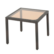 San Tropez Outdoor Square Wicker Dining Table with Tempered Glass Top, Multibrown