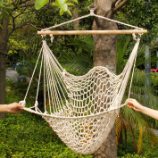 Zimtown Hammock Cotton Swing Camping Hanging Rope New Chair Wooden Beige White Outdoor