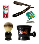 Classic Samurai Men's Shaving Set with CS-102 Matte Black Folding Straight Razor Shavette, 100 Derby Single Blades, Synthetic Shaving Brush, Arko Stick Soap and Porcelain Mug