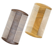 Natural Sandal & CHACATE PRETO Wooden Beard Comb & Protective Sleeve - Dual Action Fine and Coarse Teeth – Handmade Comfortable size - Perfect for Hair, Beard & Moustache