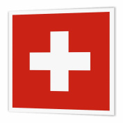 3dRose Flag of Switzerland - Swiss red and white cross - Europe - European country - world travel souvenir, Iron On Heat Transfer, 20cm by 20cm , For White Material