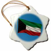 3dRose Flag of Kuwait on a flag pole with blue sky Kuwaiti, Snowflake Ornament, Porcelain, 7.6cm