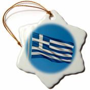 3dRose Flag of Greece on a flag pole with blue sky Greek, Snowflake Ornament, Porcelain, 7.6cm