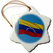 3dRose Flag of Venezuela on a flag pole with blue sky Venezuelan, Snowflake Ornament, Porcelain, 7.6cm