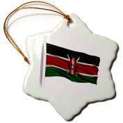 3dRose Flag of Kenya on a flag pole over white Kenyan, Snowflake Ornament, Porcelain, 7.6cm