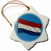 3dRose Flag of the Netherlands on a flag pole with blue sky Dutch Holland, Snowflake Ornament, Porcelain, 7.6cm