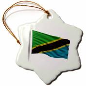 3dRose Flag of Tanzania on a flag pole over white Tanzanian, Snowflake Ornament, Porcelain, 7.6cm