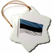 3dRose Flag of Estonia on a flag pole over white Estonian, Snowflake Ornament, Porcelain, 7.6cm