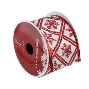 White and Red Snowflake Wired Christmas Craft Ribbon 6.4cm x 10 Yards