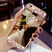 iPhone 8 Case,Inspirationc Luxury Crystal Rhinestone Soft Rubber Bumper Bling Diamond Glitter Mirror Makeup Case for iPhone 8 12cm with Detachable 360 Degree Ring Stand--Gold