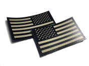 2 PACK Set - 5.1cm x 8.9cm Black and Tan (FORWARD and REVERSED) Us Ir Infrared USA Flag Military Morale Reflective Patch