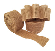Burlap Wired Ribbon - Natural Jute Fabric Ribbon Roll for DIY Crafts or Wedding Decorations - 10 Yards Long, 6.4cm Wide
