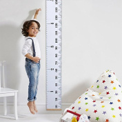Baby Height Growth Chart Wall Hanging Ruler Height Measurement Chart with Wood Frame, Brief Style Kids Toddlers Room Wall Decoration, 200cm x 20cm