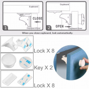 Magnetic Cabinet Locks For Tools Home Improvement ,8PCS Locks & 2 Keys , ABS Ferromagnet Chubb With 3M Adhesive , No Tools Or Screws Needed ,Easy To Instal Without Damaging Furniture For Baby & Child