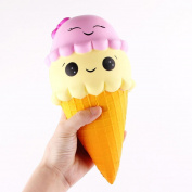 Newest Kids Cute Soft Slow Rising Jumbo Ice Cream Cartoon Squishy Squeeze Stress Reliever Toy,Pink