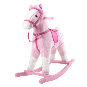 Rocking Horse Plush Animal on Wooden Rockers with Sounds, Saddle & amp; Reins, Ride on Toy, Toddlers to 4 Years Old by Happy Trails - Pink