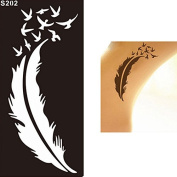 1 Sheet Of Black Feather Temporary Tattoo Lace Semi-permanent Body Art Tattoo Sticker