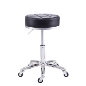 RFIVER Modern PU Leather Relief Hydraulic Adjustable Swivel Drafting Stool Chair for Salon Spa Massage Kitchen Office Shop Club bar in Black SC1004-1