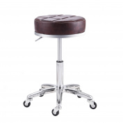 RFIVER Modern PU Leather Relief Hydraulic Adjustable Swivel Drafting Stool Chair for Salon Spa Massage Kitchen Office Shop Club bar in Brown SC1004-2