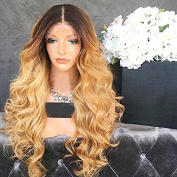 Wicca Brazilian human hair Ombre blonde Full lace wigs Dark root Loose wave Lace front wig Bleached knot Pre plucked hairline 130%density