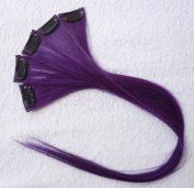 46cm High light PURPLE Clip in Human Hair Extensions Straight Violet Clip on Highlights Hair Extensions 6 Pieces/set