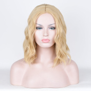 SiYi Short Wavy Bob Wig Blonde Curly Shoulder Length Costume Wig for Women