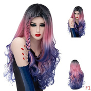Mufly Synthetic Wigs 150% Density Long Wavy Colourful Curly Hair for Cosplay Costume Party & Fancy Dress 70cm (Rose Red to Blue)