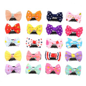 20 Packs 3.8cm Tiny Small Print Flower Grosgrain Ribbon Bow Toddlers' Snap Hair Clips for Baby Girl