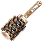 [Upgrade] BIBTIM Round Hair Brush Twill with Boar Bristle for Blow Drying, Curling & Straightening, Professional Salon Styling Brush, Nano Technology Ceramic for Perfect Volume & Shine