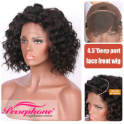Persephone Real Human Hair Lace Front Wigs with 11cm Deep Part Glueless Brazilian Curly Wig for Black Women 160 Density 30cm Natural Colour