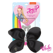 JoJo Siwa Signature Collection Small Keeper Hair Bow and Large Bow Necklace Gift Set - Black Bow with Rhinestone Keeper / Silver Bow Necklace With Sticker Patch Set Included