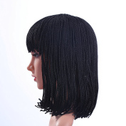 Braided Wigs for Women Black Short Bob Wigs with Bangs Braid Synthetic Hair Halloween Wig with Wig Cap ( 30cm ) Z078BK
